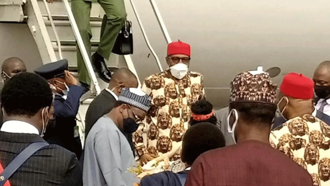President Buhari arrives Owerri for stakeholders meeting