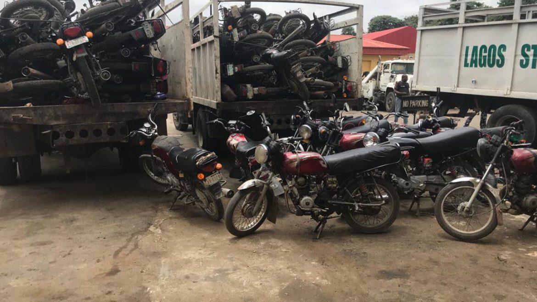 Lagos: Taskforce arrests 71 miscreants, impounds 227 motorbikes